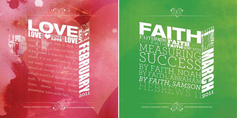 church sermon series graphics, young church creatives, sermon series graphic design, faith hope love, church graphics